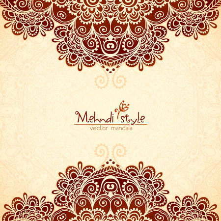 mehendi: Vector vintage flowers ethnic background in Indian mehndi style Illustration