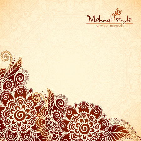 Vector floral vintage ethnic background in Indian mehndi style