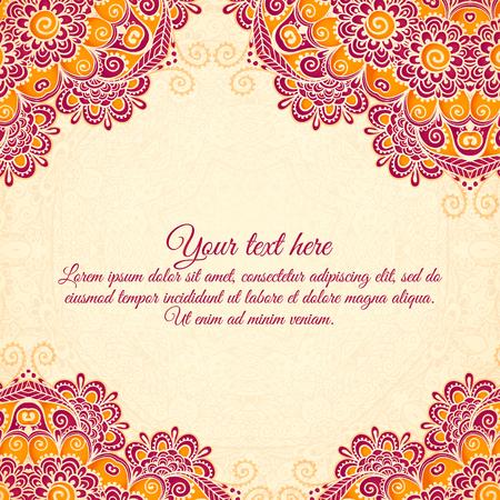 floral pattern motif: Vector vintage flowers ethnic background in Indian mehndi style Illustration