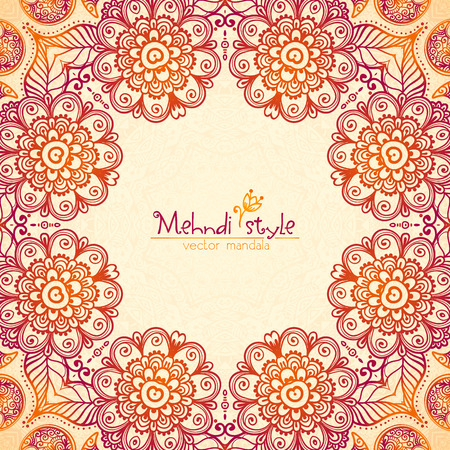 red flower: Vector vintage ethnic square floral frame in Indian mehndi style