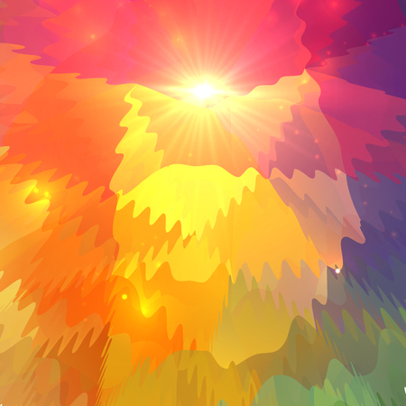 surface: Abstract vector colorful waves on polygonal surface