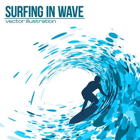 白い背景の青い波のベクトルのサーファーのシルエット