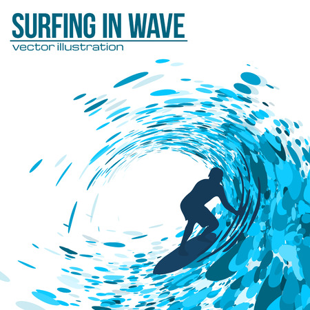 Vector surfer silhouette in blue wave on white background