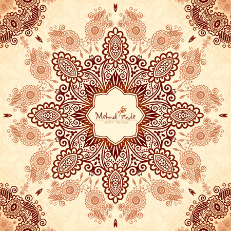 beige background: Vector vintage round seamless pattern in Indian mehndi style