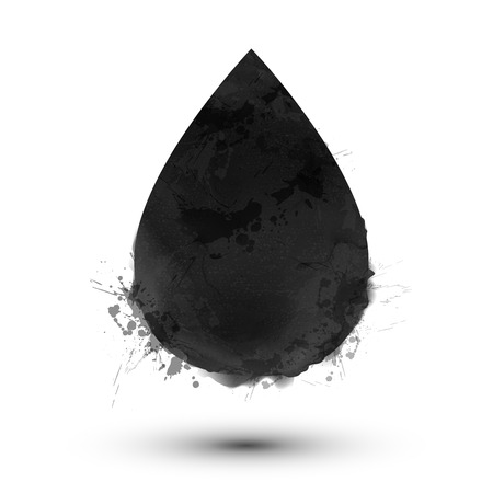 color drops: Black watercolor vector drop shape isolated on white background Illustration