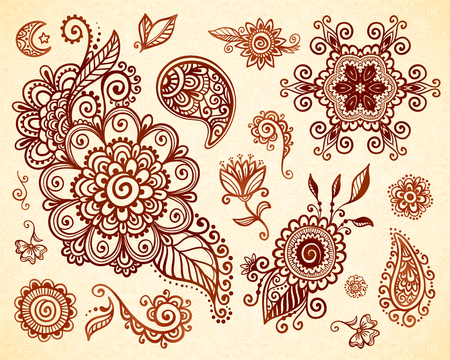 ornaments floral: Indian mehndi tattoo style vector floral ornaments set