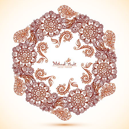 abstract backgrounds: Vector beige hexagonal frame in Indian mehndi style