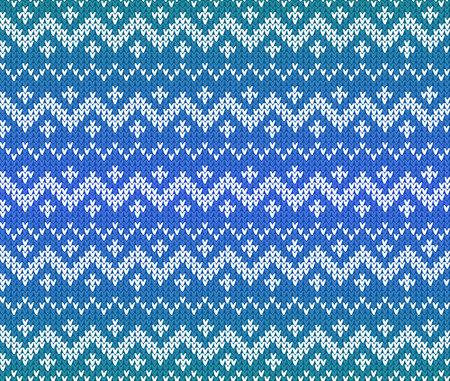 warm clothing: Blue knitted Scandinavian ornament vector seamless pattern
