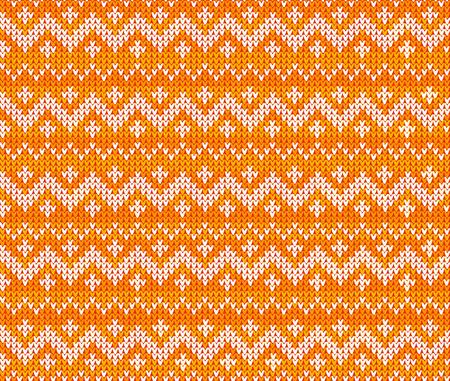 warm clothing: Orange knitted Scandinavian ornament vector seamless pattern Illustration