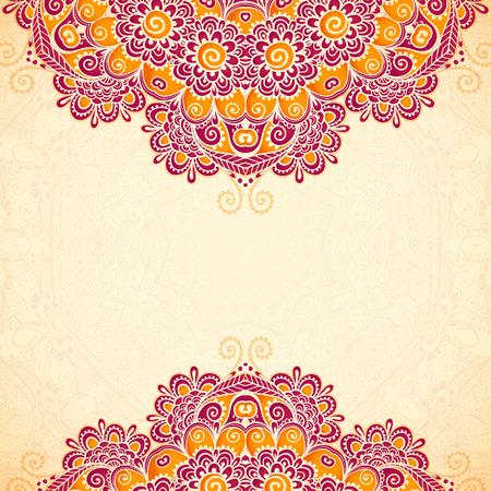 hindi: Vector vintage flowers ethnic background in Indian mehndi style Illustration