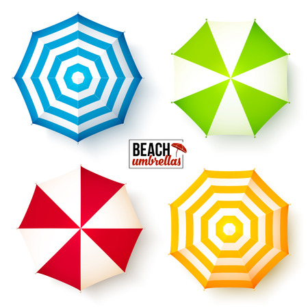 sun beach: Isolated summer beach colorful umbrellas vector set