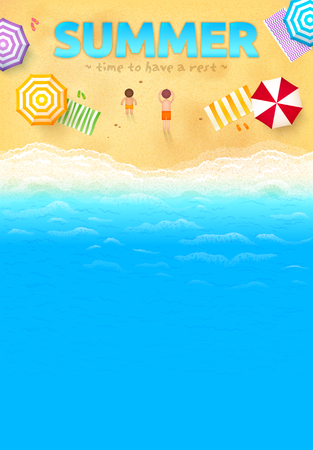 beach party: Beach with colorful umbrellas, towels, people and SUMMER sign, vector leaflet template