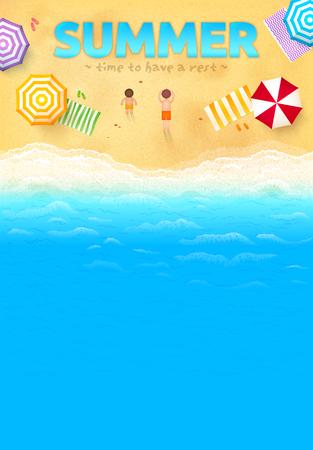 Playa con sombrillas de colores, toallas, personas y signo VERANO, plantilla vector folleto Foto de archivo - 45876042