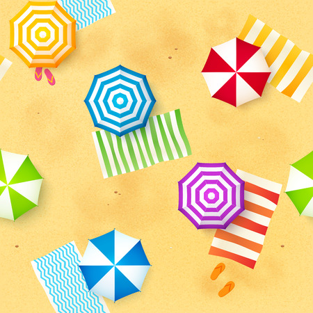 Colorful beach umbrellas and towels at the sand, vector seamless pattern