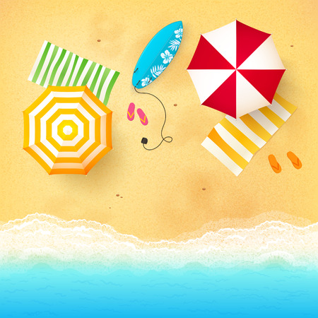 Vector beach with waves, umbrellas, bright towels and blue surfing board