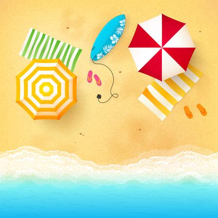 playa vacaciones: Vector la playa con olas, sombrillas, toallas brillantes y tabla de surf azul