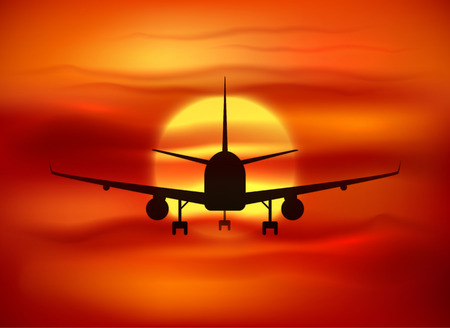 red sunset: Black vector plane silhouette at red sunset background Illustration