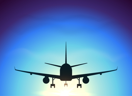 fly: Fly away plane on blue sky background, vector silhouette