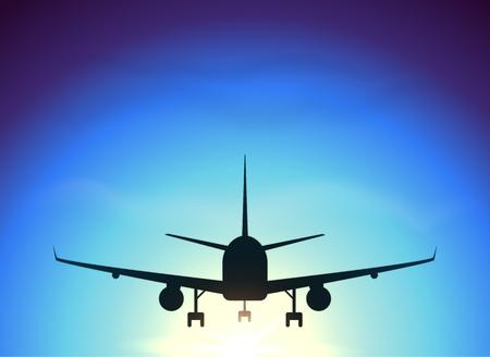 volar: Vuela avión en el fondo del cielo azul, vector de la silueta Vectores