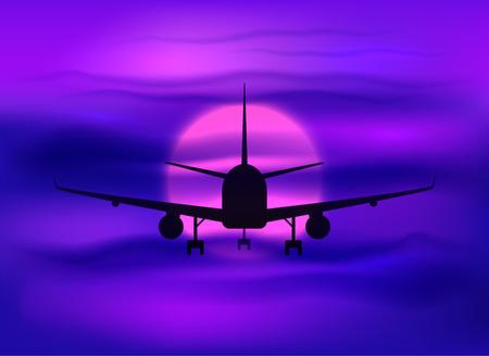 Zwarte vector vliegtuig silhouet in donkere paarse zonsondergang hemel