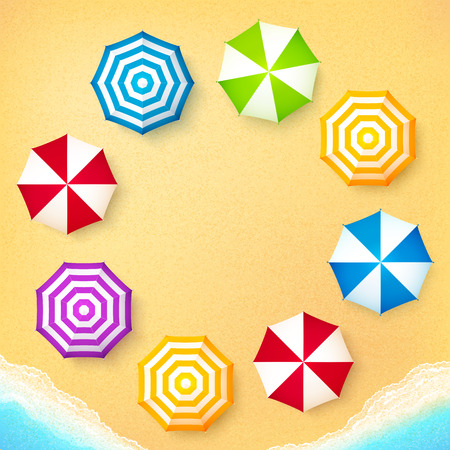 summer holidays: Beach umbrellas on sand at the beach, vector frame background