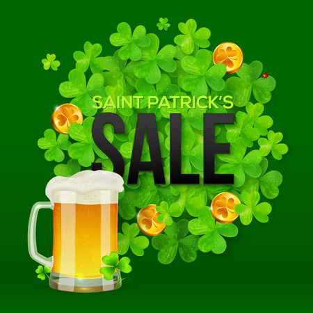 patty: Vector Saint Patricks Day SALE banner with clovers, golden coins and mug of beer Illustration