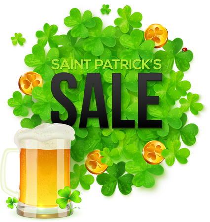 17: Vector Saint Patricks Day SALE banner with clovers, golden coins and mug of beer Illustration