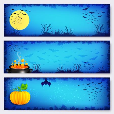 Blue vector Halloween horizontal banners backgrounds set