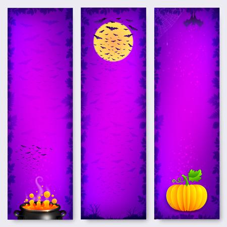 tree vertical: Purple vector Halloween vertical banners backgrounds set Illustration