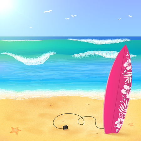 serene people: Pink surfing board on the beach with waves, vector illustration
