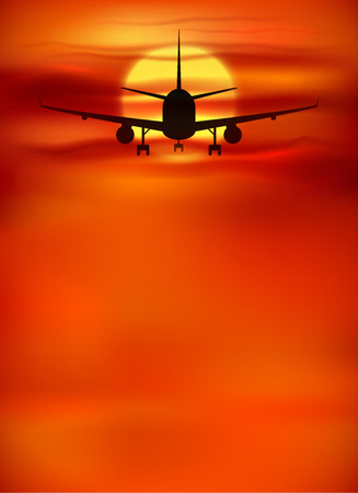 sihlouette: Vector orange sunset background with black plane silhouette Illustration