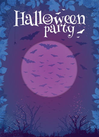 purple: Halloween party purple vector poster template with moon, trees and bats