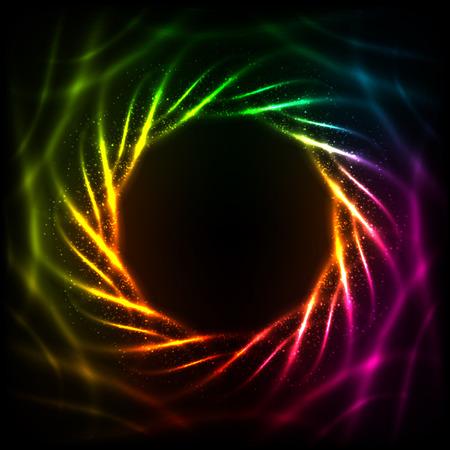 black swirls: Shining blurred neon spiral abstract vector frame