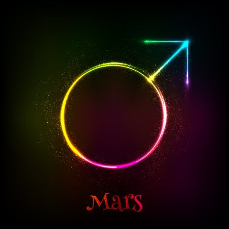 astrology: Vector shining neon light Mars astrological symbol Illustration