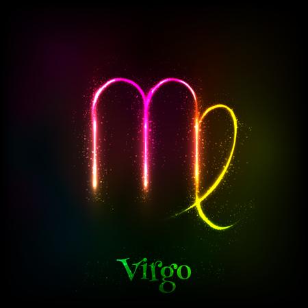 Shining neon zodiac Virgo vectorsymbool op donkere achtergrond