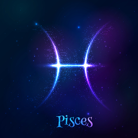 pisces sign: Blue shining cosmic neon zodiac Pisces vector symbol