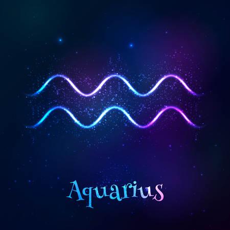 tribal aquarius: Blue shining cosmic neon zodiac Aquarius vector symbol Illustration