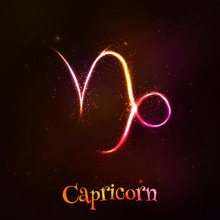 capricornio: Luminoso neón zodiaco simbolo Capricornio en el fondo oscuro