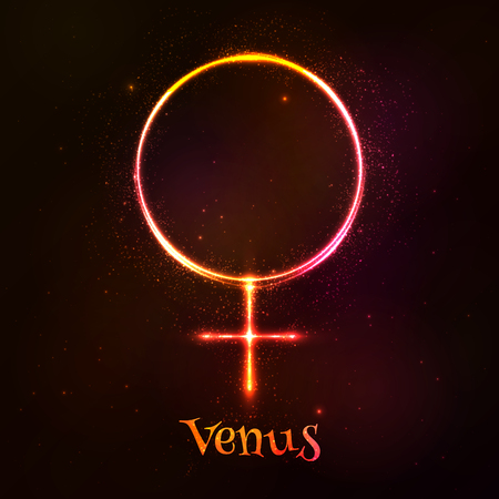 occult: Vector shining neon light Venus astrological symbol