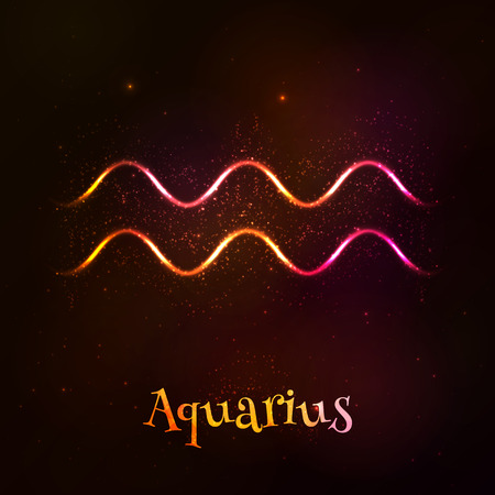 tribal aquarius: Shining neon zodiac Aquarius vector symbol at dark background