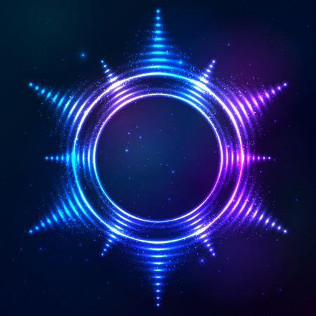 bright sun: Bright shining blue neon vector sun frame at dark cosmic background