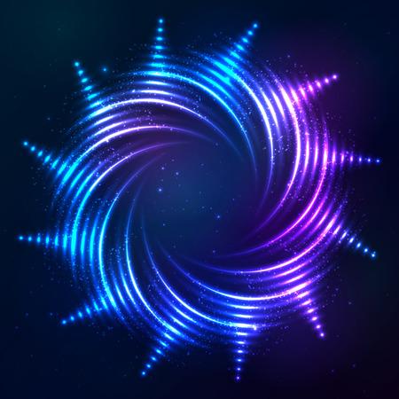 swirl background: Bright shining blue neon vector spiral frame sun at dark cosmic background