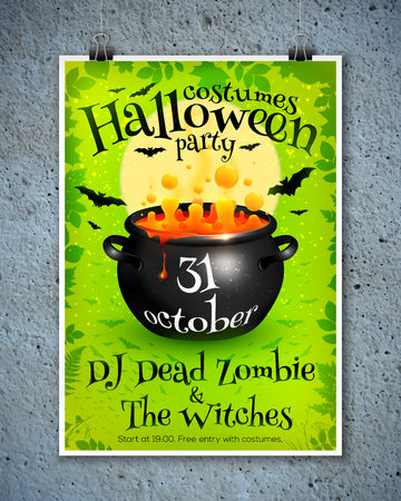 brew: Bright green vector Halloween party poster template with orange witches brew in cauldron, moon and bats Illustration