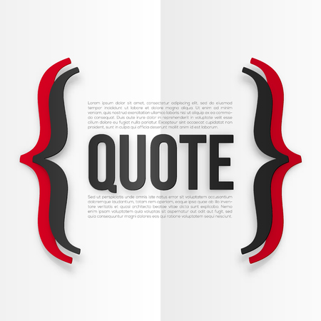 curly: Red and black vector curly brackets with place for your text at white folded paper background