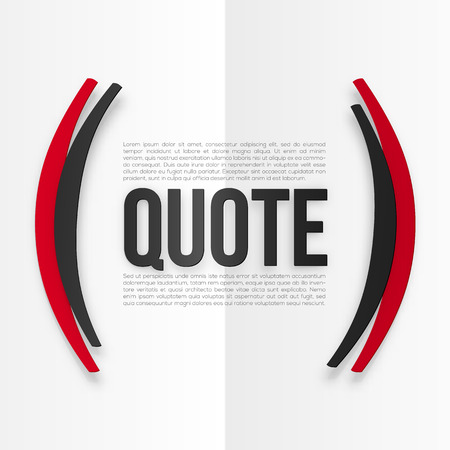white letters: Red and black vector parentheses with place for your text at white folded paper background