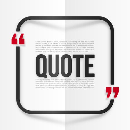 and comma: Red and black vector rounded frame with place for your quote at white folded paper background Illustration