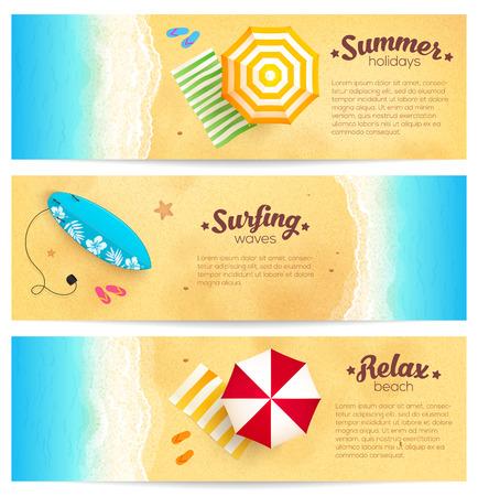 ベクトルの夏のセット旅行ビーチ パラソル、波、サーフィン ボードのバナー