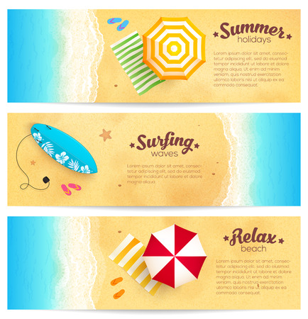 Set of vector summer travel banners with beach umbrellas, waves and surfing board Vettoriali