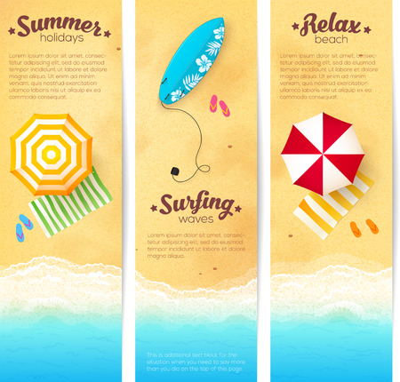 Set of vector summer travel banners with beach umbrellas, waves and surfing board Stock Illustratie