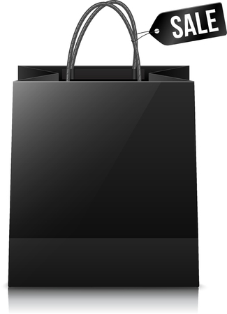 shopping bag: Vector black shopping bag with sale tag and shadow